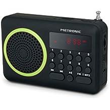 Metronic 477202 - Radio portátil FM compacto con puerto USB, lector tarjeta Micro SD,