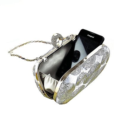 Woman Fashion Diamanten die Stickerei Abend Tasche White