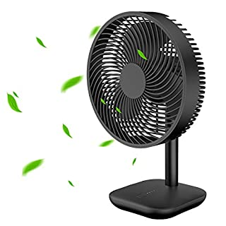 EXTSUD USB Battery Desk Fan, Powerful Airflow 4 Wind Speed, Portable Small Silent Desk Fan for Home Office Bedroom Dorm Study (Black)