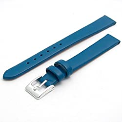Fine Calf Leather Watch Strap Band 12mm Mid Blue with Chrome (Silver Colour) Buckle. Free Spring Bars (Watch Pins)