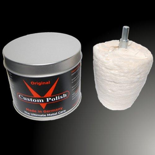 Custom Polish original Kit de polissage polissage polissage 400 g Chrome en aluminium + Embout de polissage en forme de cône