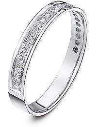 Theia 9 ct Yellow Gold, Flat Court Shape, 0.25 Carat Round Diamond Pave Set 3.5 mm Eternity Ring
