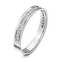 Idea Regalo - Theia Anello Eternity in Oro Bianco 9K (375), Piatto, Vestibilità Comoda, con Pavè di Diamanti Rotondi da 0.25ct, 3.5mm - Misura 14