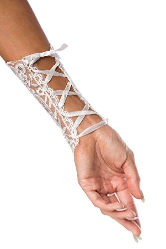 Unbekannt Brauthandschuhe fingerlos Braut Handschuhe Strass Steinchen Hochzeit Weiß Ivory (Ivory) - 3
