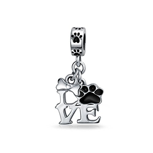 Bling Jewelry Me Encanta El Perro Negro Cachorros Gatitos Paw Print Pet Colgante Albalorio Mujer Adolescente 925 Plata Pulsera Europea