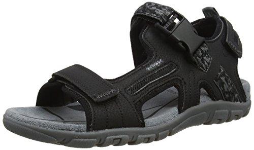 Geox uomo strada a, sandali con cinturino alla caviglia, nero (black), 42 eu