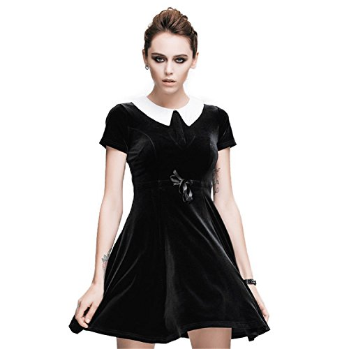 Devil Fashion Women's Steampunk Gothic Close Fitting Short Sleeve Dress Shirt Collar Skirt Black Mini Dress for Party,XS steampunk buy now online