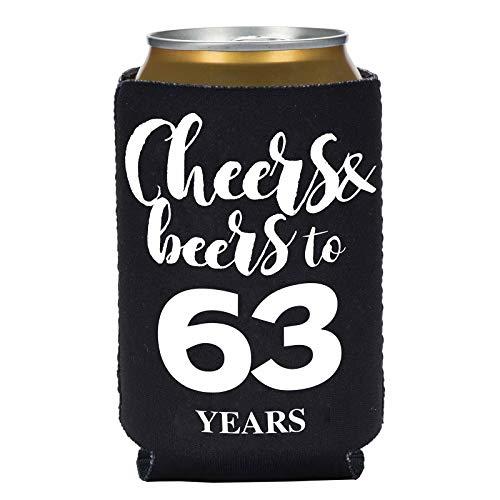 Bierdosenhüllen-Set zum 63. Geburtstag von Koozie, 6er-Pack, Cheers and Bers bis 63 Jahre, für Getränkedosen und Partys, Schwarz -