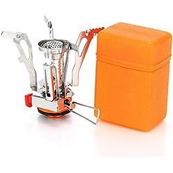 Spotact - Quemador de estufa de camping compacto y plegable, portátil, plegable, ideal para acampada, senderismo, pesca, mochila