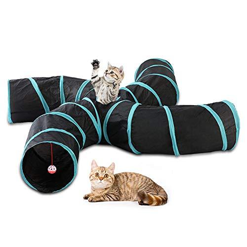 dewdropy Tunnel Gatto, Túnel De Juguete para Mascotas Túnel Plegable para Mascotas Túnel S De Cuatro Canales para Carpa para Gatos