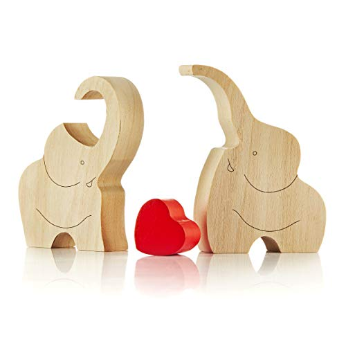 IK Style Loving Wooden Love Elephant Couple Figurine With Red Heart - Elephants Ornament Decor Gift With Message Of Love