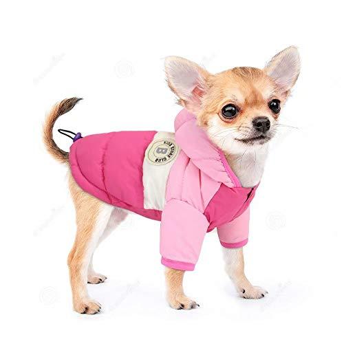 PET ARTIST Hundemantel mit Kapuze, Schneeanzug mit Loch für die Leine, wasserdicht, Winddicht, mit Kapuze, für Chihuahua, Yorkie, Pudel, Shih Tzu, Mini-Pinscher, Pink, Chest 13.5