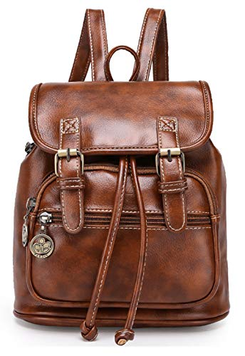Tibes cuero grande PU del morral mochila estudiantil mochila casual mochila mujer B marrón
