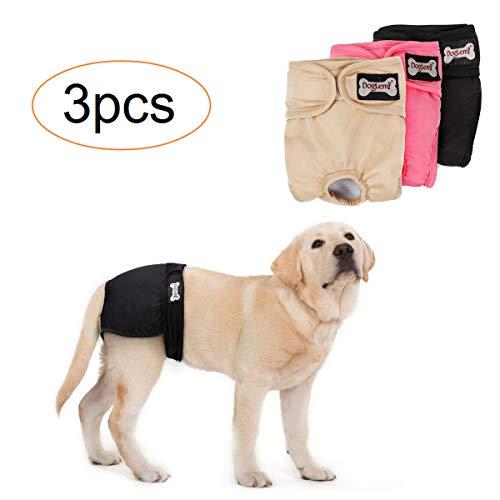 Tineer waschbare weibliche Windeln Wiederverwendbare Welpen auslaufsichere physiologische Windeln Hose für weibliche Hunde (3-Pack) (L)