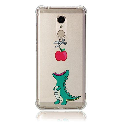 HopMore Funda Xiaomi Redmi 5 Silicona Transparente Motivo Kawaii TPU Gel Ultrafina Slim Case Antigolpes Caso Cover Protección Carcasa para Redmi 5 - Cocodrilo Come Manzana