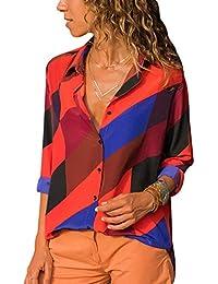 Camisa de Gasa Mujer Blusas a Rayas Escote V Blusa Manga Larga Camisas  Oficina Señora Top f9f2f855e54b