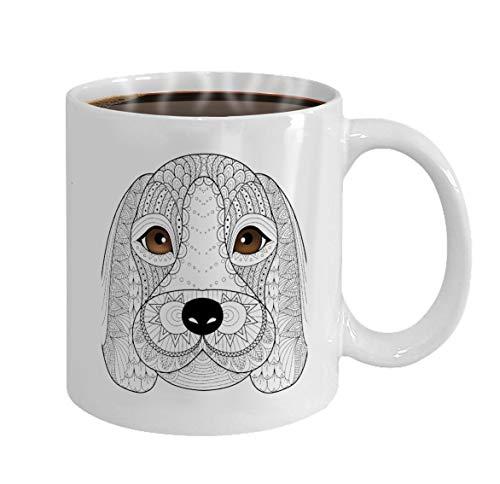 Custom Coffee Mug 11 Oz Ceramic Gifts Tea Cup beagle puppy line art coloring book adult design