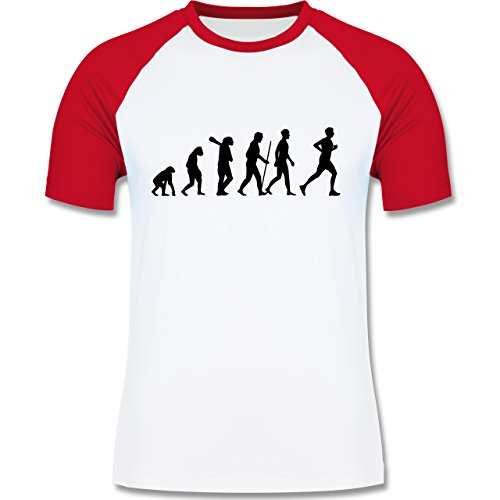 Shirtracer Evolution - Läufer Evolution - Herren Baseball Shirt Weiß/Rot