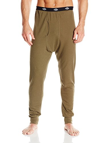 Dickies Men's Midweight Performance Waffle Thermal Pant, Military Green, Large (Midweight Thermal Pant)