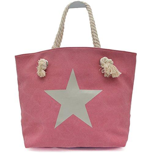 Vain Secrets Sternen Shopper Damen Handtasche Marine Look Kordeln Rot