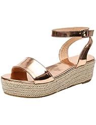 Alaso - Sandalias de plataforma para mujer, 5 cm, con cuña, para verano, sandalias de playa, zapatillas de piscina, estilo informal, color negro, gris, marrón, leopardo, 35-43