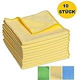 FloKa69® Set da 10 panni per pulizia in microfibra ad alto assorbimento 300gsm 40x40cm giallo Ideale per la casa, del bagno, della cucina eŽ dell'ufficio I panni per strofinacci per schermo a specchio