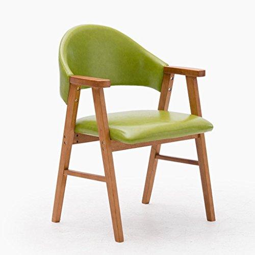 GHFDSJHSD Hocker Massivholz Stuhl Mit Armlehnen Sessel Montage Hocker Tuch mit PU Kissen Frühstücksstuhl Geeignet für Wohnzimmer Studieren 57 * 58,5 * 81,5 cm Feste Farbe, 8 -