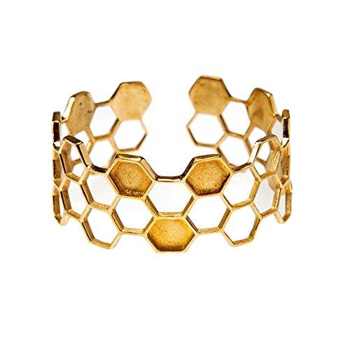 81stgeneration Frauen Gold Messing Geometrisch Bienenwabe Einstellbar Armreif Armband