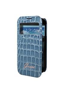 Guess Croco Smart View Samsung Galaxy S4 mini I9190, I9192, I9195 Custodia con Finestra, Cover, GUBBWS4MCRN, Bookstyle Book Case - Blue