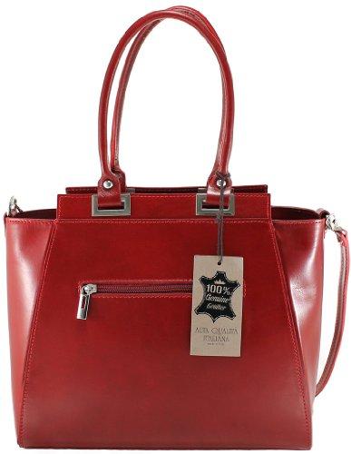 CTM DamenhandtascheElegante Abend , 34x26x14cm , 100% echtes Leder Made in Italy Rot