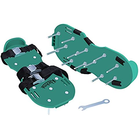 Aireador de césped zapatos, rockrok Spike Sandalias con tres correas y hebillas metal resistente para airear el césped Jardín o