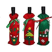 Ducomi - Cubre Botellas de Navidad para Agua, Vino o Champagne - 3 Bolsas para