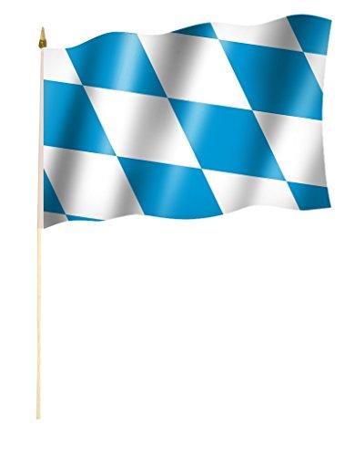 ne BAYERN, Rauten blau - weiß, Oktoberfest Flagge/Fahne ca. 30 x 45 cm mit ca. 60cm Stab/Stock (Blaue Flagge Mit Weißem X)
