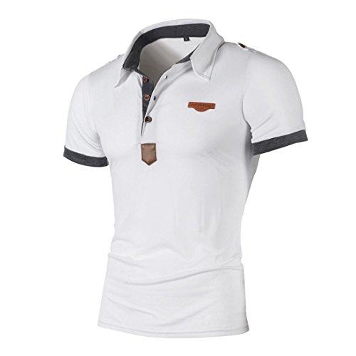 T-Shirts,Honestyi 2018 Neueste Modell Herren Poloshirt Kurzarm Klassisches Basic T-Shir hochwertigem Single Jersey Stoff Sweatshirt Kurzarmshirt blusen Tops Streetwear M-XXL (M, Weiß) -