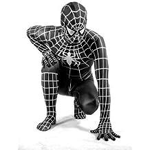 Negro Spiderman SuperSkin disfraz–Adulto Unisex Hombres y Mujeres segunda piel | Zentai Batman Onesie ropa disfraz Halloween Lycra barato, negro, small