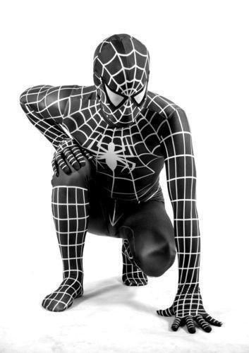 Disfraz de Spiderman con traje negro para adultos, unisex, licra, de cuerpo entero, para Halloween, negro