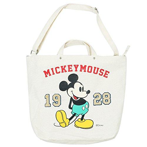 ililily disney mickey mouse print solid color cotton canvas tote bag