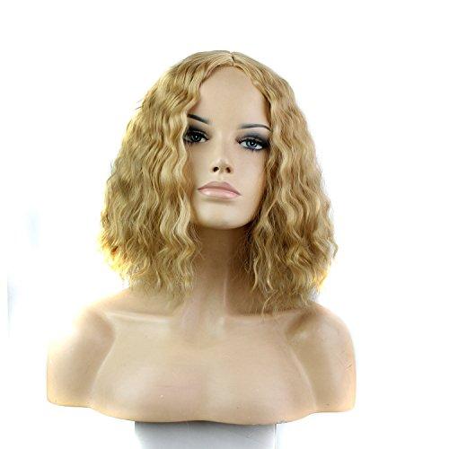 royalvirgin Damen Kurz blond gelockt Perücke Full Maschine mittleren Teil Sammler Party Haar Perücke mit (Perücke Hot White)