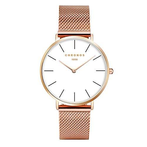 Mode Klassisch Unisex Damenuhren Herrenuhren Legierung Uhrenarmband Anolog Armbanduhren für Männer Frauen, Rose Gold