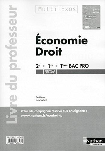 Économie Droit 2e/Première/Terminale Bac Pro (Multi'Exos) (Pochette) Professeur 2015