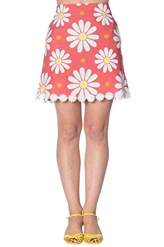 Banned Crazy Daisy Vintage Retro 60er Minirock - Coral/UK-14 -