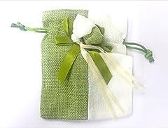 Idea Regalo - takestop® Set 12 Pezzi Sacchetti Sacchetto Organza 10.5X14cm BOMBONIERA BOMBONIERE Nascita Matrimonio Compleanno Riso Confetti Regalo (Verde/Bianco)