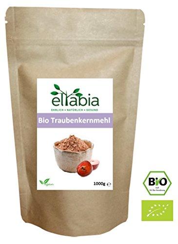eltabia OPC Bio Traubenkernmehl 1kg 1000g Maxi Pack 100{79c38f03499c37acce6ffc1f38d1e84f4eeb52f0c0db0f05899d10532845668d} rein ohne Zusätze, Rohkostqualität