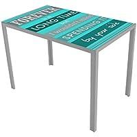 13Casa - Dahl D1 - Tavolo. Dim: 105x60x75 h cm. Col: Azzurro, Fantasia. Mat: Vetro. - Arredamento - Confronta prezzi