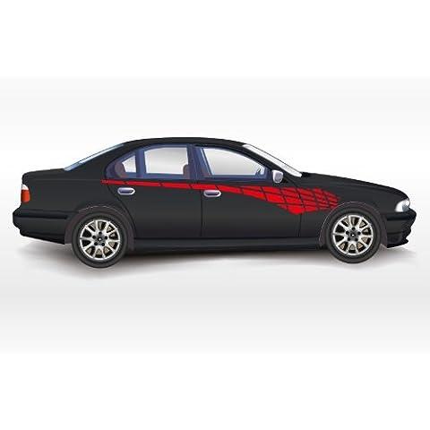 N3057 Racing Tattoo, coches, camiones Decal Vinilo Gráficos Pegatinas 2 Laterales del cuerpo (Rojo)