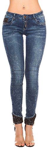 Skinny Jeans Acid wash mit Spitze * Gr. 34-42 * Damenhose Damen Jeanshose Röhre Pants Hose (K600-359 900281 Gr. 36) (Wash Acid Jeans)
