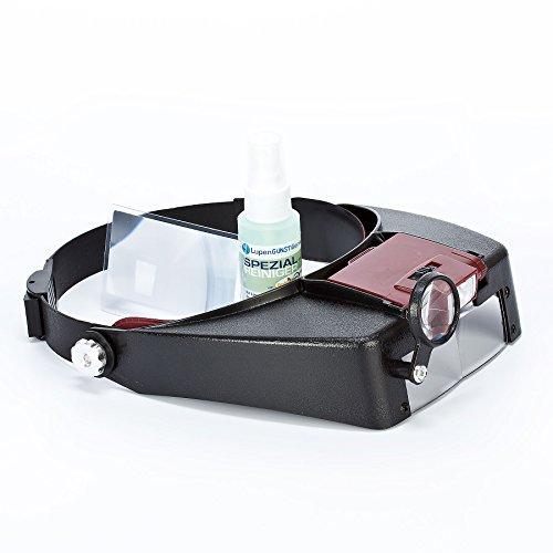 GOLDIFLORA OPTICS - MG 81007-A - KOPFBANDLUPE MIT 2 LED Lichter (VERSTELLBAR) - BIS ZU 8,5x facher Vergrösserung ( Zusatzlinse ) möglich + Betriebsfertig montiert + 1x Reinigungsset - ( ZUBEHÖR IM UVP-WERT VON ca. 7,00 EURO)