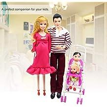 Dailyinshop 5 Personas Muñecas Traje Muñeca Embarazada Familia Mamá + Papá + Bebé Hijo + 2
