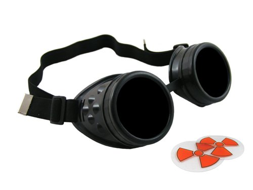 CyberloxShop® Cyber Goggles Ultra Black Steam Punk Rave Goth - Includes FREE set of Exclusive CyberloxShop® Lense Design Inserts steampunk buy now online
