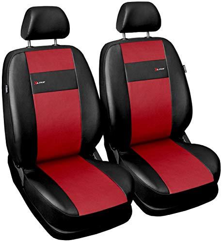 GSC Sitzbezüge Auto Vordersitze Universal Autositzbezüge Schonbezüge Vorne Kunst Leder mit Airbag System X-LINE, kompatibel mit Peugeot 207